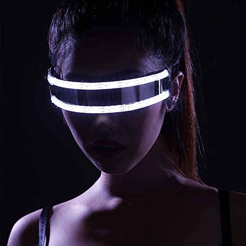 Relubby LED Rave Brille, Laser Show Glowing Brillen, Männer Frauen Nachtclub Maske Rave Party Tanzen Kunststoff Kostüm Requisiten,White