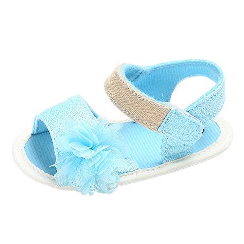 Baby Schuhe Auxma Baby Blumen Sandalen Kleinkind Mädchen Schuhe für 3-6 6-12 12-18 Monat (6-12 M, Schwarz) Blau