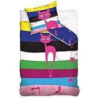 Maxi e Mini - Set di biancheria da letto con copripiumino da 160 x 200 cm e federa 70 x 80 cm, per cameretta dei bambini, 100% cotone, motivo: gatto rosa a righe
