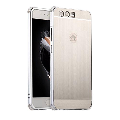 HUDDU Kompatibel mit Hülle Huawei P10 Plus Aluminum Handyhülle Ultra Dünn Überzug Metal Mirror Back Case Cover Matt Schutzhülle 2 in 1 Slim Spiegelnd Bumper Spiegelnder Etui Handyschale - Silber Grau Silber Metal Case