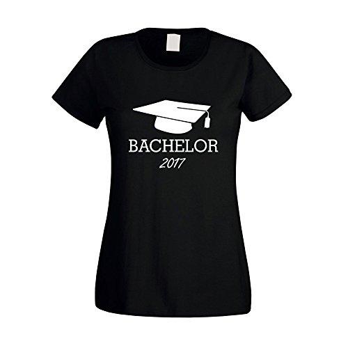 Damen T-Shirt - Bachelor 2017 - von SHIRT DEPARTMENT, S, schwarz-weiss