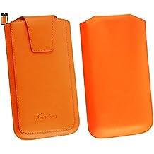Emartbuy® Sleek Range Naranja Luxury PU Leather Funda Carcasa Case Tipo Bolsa ( Size 5XL ) con Cierre Magnético y Mecanismo de Pestaña para Estirar Suitable For Elephone P8000 5.5 Inch Smartphone