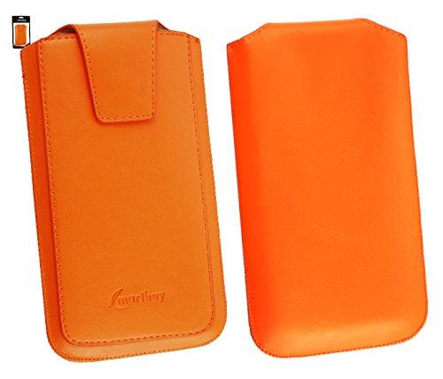 Emartbuy® Sleek Range Orange Luxury PU Leder Tasche Hülle Schutzhülle Case Cover ( Size 5XL ) Mit Ausziehhilfe geeignet für Allview P6 QMax Smartphone