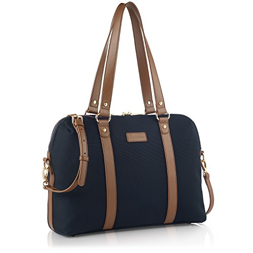 CHICECO Satchel Handtasche Damen Umhängetasche Aktentasche für 13 Zoll Laptop Dateien Bücher - Braun und Blau (Blaue Satchel)