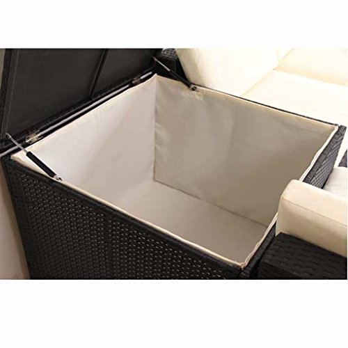 POLY RATTAN Lounge Gartenset Schwarz Sofa Garnitur Polyrattan Gartenmöbel inkl. Kissenbox - 4