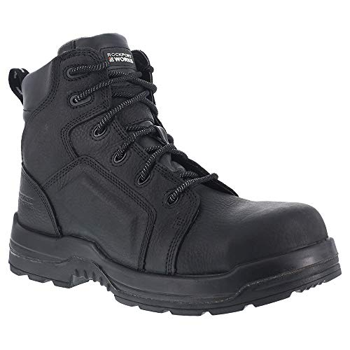 Rockport Womens Black Leather WP Work Boots More Energy Composite Toe Wp Work Boot