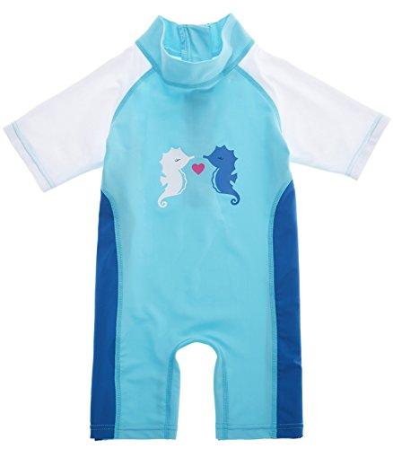 ALove Baby Einteiler Halbarm Schutzkleidung für Säugling Kinder Rash Guard UV-Schutz 50+ Blau 6-12 Monate Badeanzug Für Jungen Mit Uv Schutz