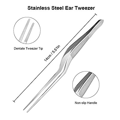 Anself Bending Ear Tweezer Stainless Steel Ear Forceps Ear Cleaner Ear Wax Remover Ear Care Tool