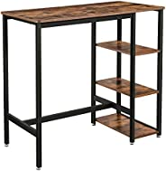 VASAGLE bartafel rechthoekig, bartafel met 3 planken, keukentafel, aanrecht, stevig metalen frame, 109 x 60 x