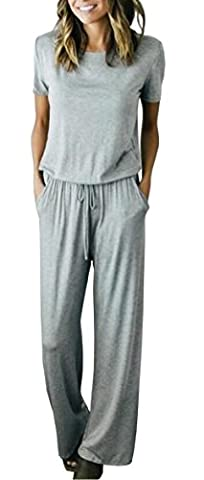 Longwu Women's Short Sleeve Drawstring Casual Long Pants Jumpsuit Romper Grey-S