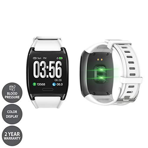LCARE Watch with Blood Pressure + Heart Rate Monitor + Smart Activity Tracker + Call Alert for Android and iPhone (White)