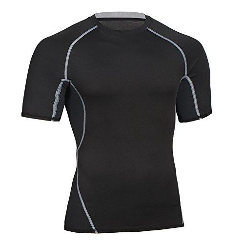 Bwiv maglia compressione uomo maniche corte asciugatura rapida maglia da sport Nero XL