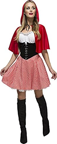 Smiffy's Women's Fever Red Riding Hood Costume, Dress and Hooded Cape, Once Upon a Time, Fever, Size 8-10, 38490