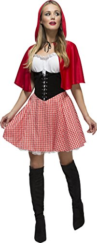 Price comparison product image Smiffy's Women's Fever Red Riding Hood Costume, Dress and Hooded Cape, Once Upon a Time, Fever, Size 8-10, 38490
