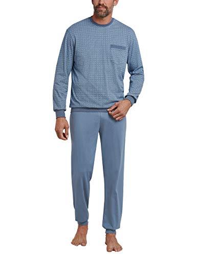 Schiesser Herren Schlafanzug lang mit Bündchen Zweiteiliger, Blau (indigo 824), Large (Herstellergröße: 052) - Herren-langer Arm