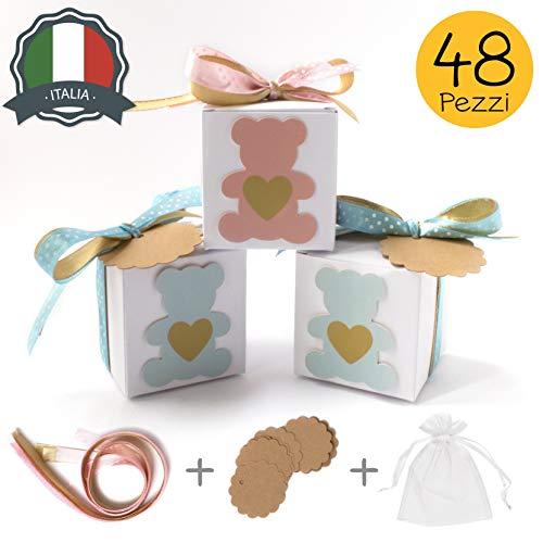 Stella design bomboniere battesimo/nascita, 48 pezzi bigliettini e sacchetti, orsetto maschio/bambina, scatole portaconfetti (rosa)