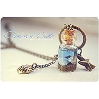 Océano en un collar de la botella, botella de cristal con conchas, collar de conchas de mar de miniatura, shell botella colgante, regalos para mujeres, collar de nautic