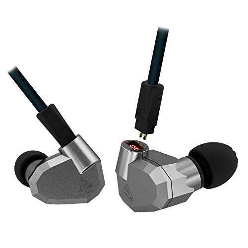 2BA Hybrid In-Ear-Kopfhörer, HiFi DJ-Monitor mit Ersatz-Kopfhörer-Kabel, kabelgebundenes In-Ear-Headset mit Geräuschunterdrückung Grey no Microphone ()