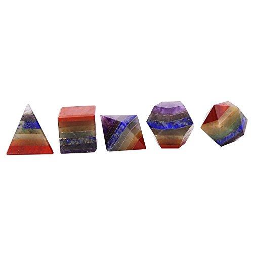 HARMONIZE 5 Piezas Semipreciosa Curación De Cristal Sólido Platónico Chakra Reiki De La Piedra Preciosa De Equilibrio Geometría Sagrada