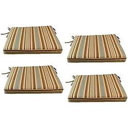 Edenjardi Pack 4 Cojines para sillas y sillones de jardín Color Lux Estampado a Rayas | Tamaño 44x44x5 cm | Repelente al Agua | Desenfundable | Portes Gratis