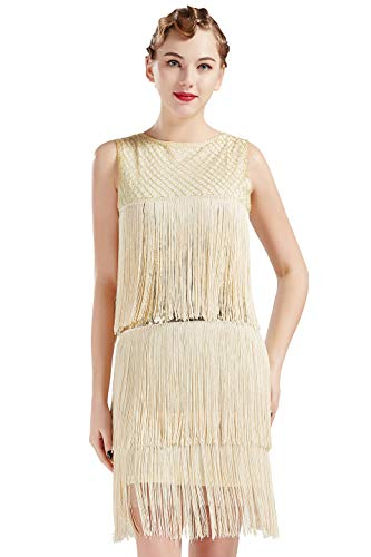 ArtiDeco 1920s Charleston Kleid Damen Knielang Cocotail Party Kleid 20er Jahre Flapper Damen Gatsby Kostüm Kleid (Beige, M / UK12-14 / EU - Great Gatsby Tanz Kostüm