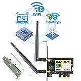 Ubit Carte Réseau Wi-FI 6 2400 Mbps avec Bluetooth 5.0 Adaptateur PCI Express Double Bande 5GHz sans Fil Intel AX200 Carte WiFi PCIE Wireless pour PC Soutenir MU-MIMO