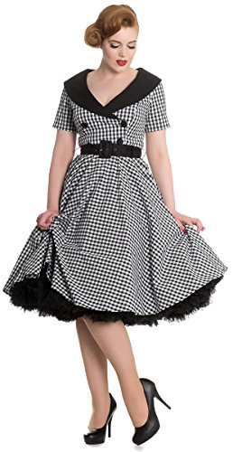 Hell Bunny BRIDGET Vichy 50s Gingham Retro Collar Kleid / DRESS Rockabilly  Schwarz / Weiß