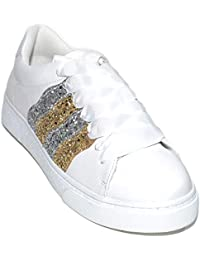 Sneakers Bassa Donna Bianca da Passeggio Fondo Basso Bianco con striscie  Glitter Oro e Argento Moda a4b5ed1af46