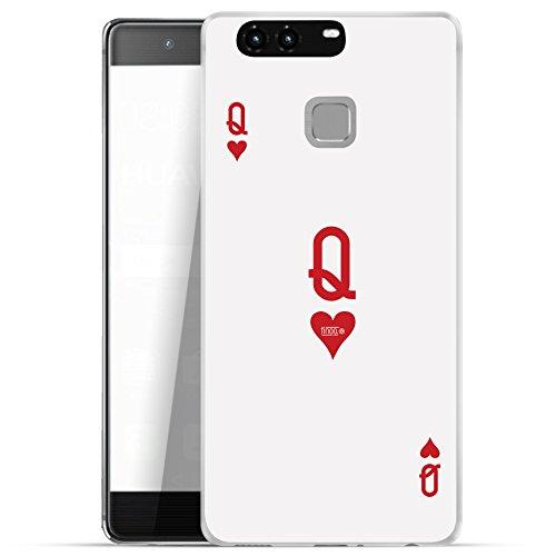 finoo | Huawei P9 Hard Case Handy-Hülle mit Motiv | dünne stoßfeste Schutz-Cover Tasche in Premium Qualität | Premium Case für Dein Smartphone| Queen Karte (Slim-layer-karte)