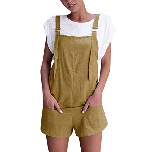 Womens Fashion Elastic Waist Dungarees Linen Cotton Rompers Loose Playsuits with Pockets Shorts Pants Lady Girl's Casual Solid Sleeveless Daily Leisure Party Office Playsuits