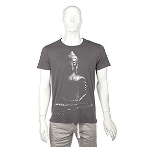 """Bodhi Yoga Shirt Männer""""BUDDHA"""",100% Bio-Baumwolle vintage-anthrazit mit weißem Print, FairWear Siegel und GOTS"""