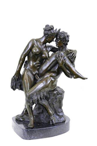 Statua di bronzo Scultura...Spedizione Gratuita...Nudo Arte Erotica Nudo Ninfa Con Satiro base di marmo(DS-578-JP)Statue Figurine Figurine Nude per ufficio e casa Décor Primo Giorno Collezionismo Art