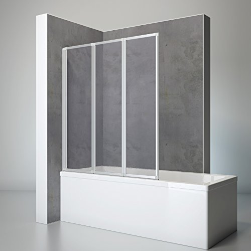 Schulte D1300 01 01 Duschwand Well, 127 x 140 cm, 3-teilig faltbar, Kunstglas Softline hell mit Tropfen-Dekor, alu-natur, Duschabtrennung für Wanne