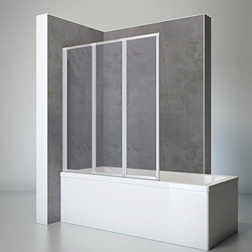 faltbare duschwand fuer badewanne Schulte Duschwand Well, 127 x 140 cm, 3-teilig faltbar, Kunstglas Tropfen-Dekor, alu-natur, Duschabtrennung für Wanne