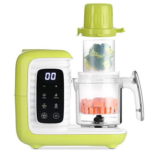 zanmini Babynahrungszubereiter, 6-in-1 Dampfgarer Baby, Dampfgaren & Mixen - 2 Dampfkörbe