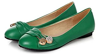 Damen Komfortable Blockiert Runde Kappe Flache Patent Pumps Loafers Slip-on Casual Leder Ballerina Dolly Work Ballettschuhe EU 41 Grün Fln0g