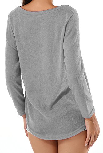 Yidarton Col V Tricot Femme Chandail Casual Manches Longues Lâche Lrrégulier Pulls Sexy Pull-over Gris