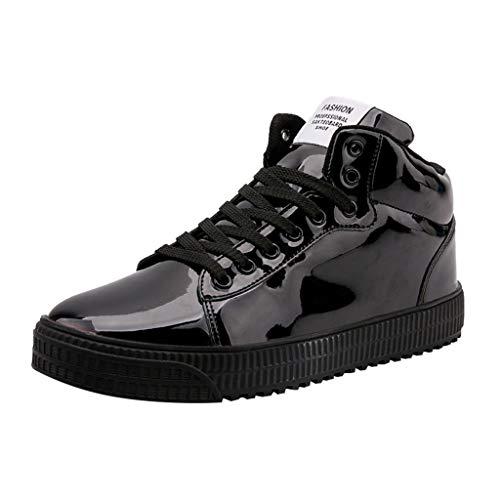 Herren Premium Waterproof Stiefel Paar Blendende Spiegel-Trend-Sneaker Nachtclub Pailletten High-Gang Casual Schuhe Outdoor Sneakers