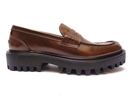 Antica Cuoieria scarpe da donna mocassini in pelle Marrone fondo in gomma pesante, n. 39