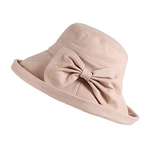 Mode Casual Chapeau de Soleil Sauvage, Femmes Coréennes Été Protection Contre le Soleil en Plein Air Voyage Chapeaux Pliables Grand Chapeau Chapeau de Parasol, MDD, Beige