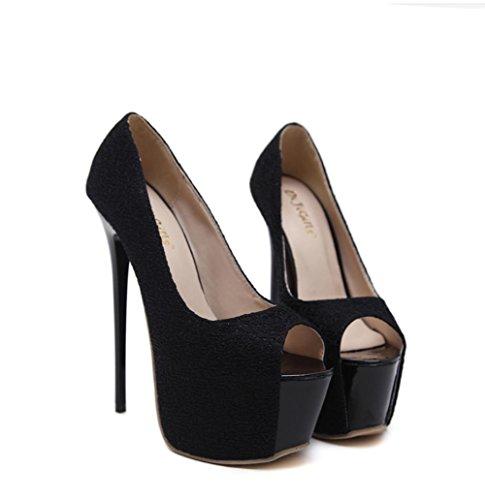Best 4U® Sandali da donna Estate Premium PU Peep toe 16CM Tacchi alti 7CM Scarpe piattaforma Scarpe da sposa Red