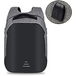 Mochila recargable del ordenador portátil de los adolescentes de la mochila del viaje de la prenda impermeable del USB 15.6 pulgadas para el estudiante universitario B GRAY
