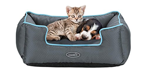 Pecute Water Resistant Pet Bed for Cats and Puppies Removable Machine Washable Scratch Proof (49 x 44 x 18cm, Grey)