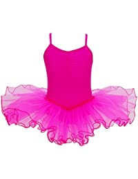 TiaoBug Enfant Fille Justaucorps de Danse Gymnastique Tutu Robe de Ballet  Classique V-Cou Robe 9e043e50cbd