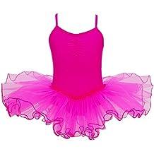 Freebily Maillot Vestido Danza para Niña (2-12 años) de Fiestas Leotardo Ballet Tutú Elástico Tiras Cruzadas