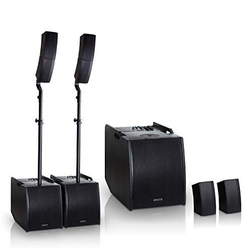 HAISER HSR 212 400 W RMS Aktiv Portable Array System Power Set | Compact Array Line System | PA System | Säulensystem | Subwoofer | Bluetooth | USB | SD (Line-array-subwoofer)