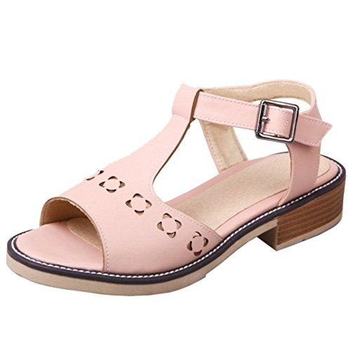 TAOFFEN Damen Gemutlich Open Toe T-Spange Slingback Schuhe Niedrig Absatz Sommer Sandalen Pink