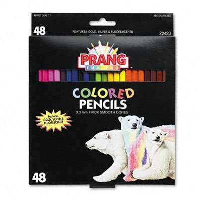 Prang - Colored Woodcase Pencils, 3.3 mm, 48 Assorted Colors/set by Prang
