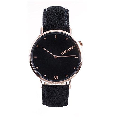 LIVEALIFE Unisex Armbanduhr dünn Analog Quarz Leder Wildleder Vintage Business Look Minimalistisches Design rose gold Damen und Herren schwarz