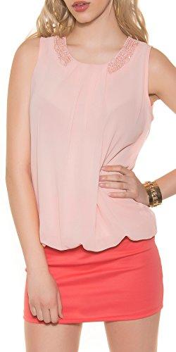 J&H Fashion Damen Top Shirt Bluse mit Schmuck Steinchen und Perlen | Blusentop aus Krepp Büro Business | Farbe rosa Größe 34 - 38 (Krepp-perlen)